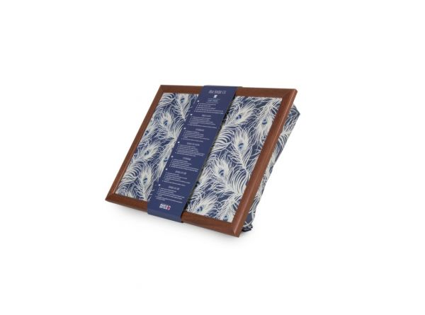 Bean Bag Cushioned Lap Tray in Peacock with Wood Frame